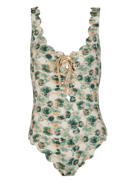 Marysia Palm Springs Scalloped Lace-Up Maillot
