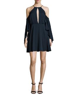 Melody Cold-Shoulder Halter-Neck Stretch-Silk Dress, Navy