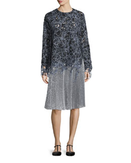 Long-Sleeve Raw-Edge Lace Sweatshirt, Black