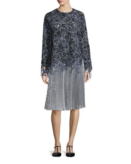 Long-Sleeve Raw-Edge Lace Sweatshirt, Black