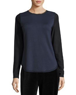 Perry Long Mesh-Sleeve Knit Top