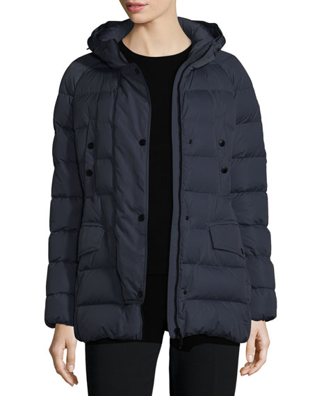 Clio Matte Down Puffer Coat, Navy
