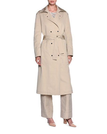 Double-Breasted Belted Trenchcoat, Beige