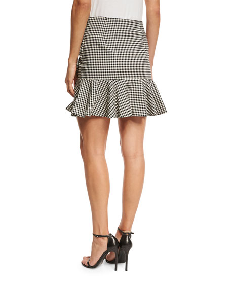 Picnic Bow Mini Skirt, Black/White
