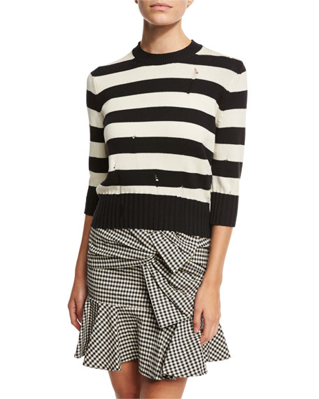 Cape Dropped-Stitch Striped Sweater, Black/White