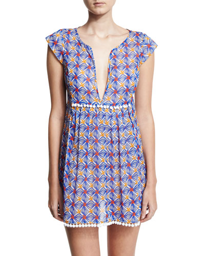 Mosaic-Print Pompom Coverup Mini Dress, Blue Multicolor