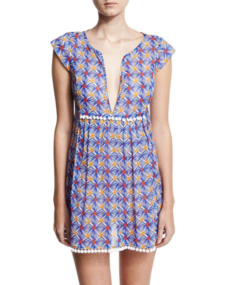 Mosaic-Print Pompom Coverup Mini Dress, Blue Multicolor
