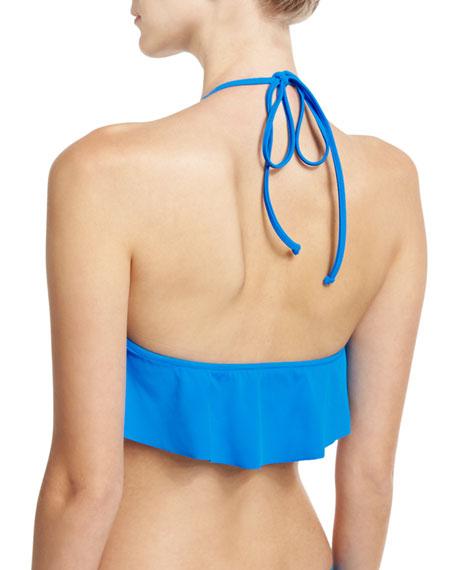 Italian Solid Halter Swim Top, Blue