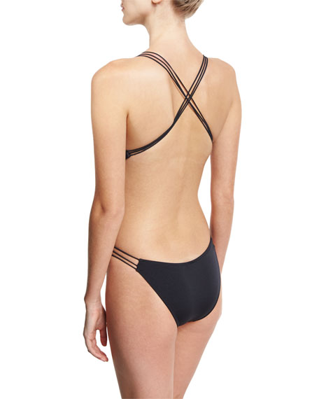 Hvar Italian Solid Strappy Backless One-Piece Swimsuit, Black