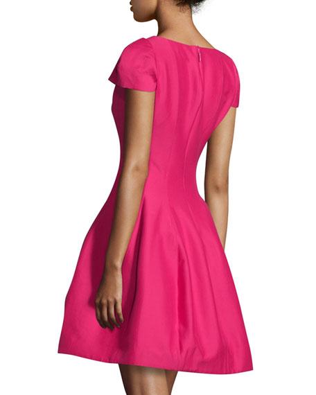 Tulip-Skirt Split-Neck Party Dress