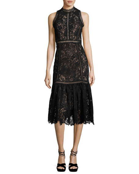 Arella Sleeveless Lace Midi Dress, Black