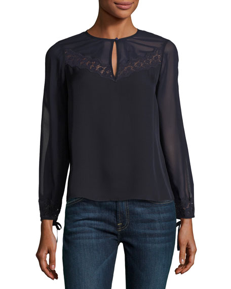 Rebecca Taylor Georgette Lace-Trim Keyhole Top, Navy