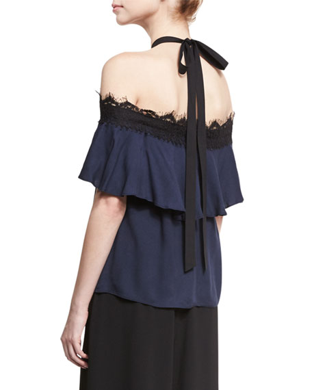 ab5867ece94e9f Alice + Olivia Alyssa Off-the-Shoulder Halter Top, Navy/Black