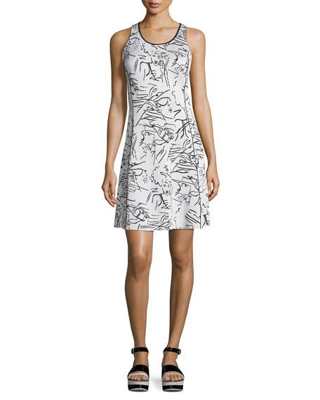 Antonio Sketches Jacquard Sleeveless Dress, White
