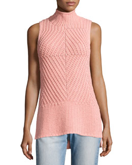Abbot Sleeveless High-Low Mock-Neck Sweater, Light Pink