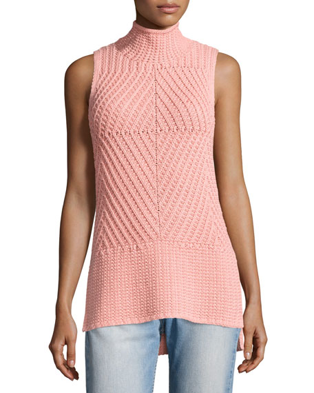 Abbot Sleeveless High-Low Mock-Neck Sweater, Light Pink