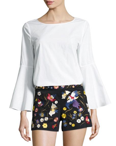 Shirley Flared-Sleeve Top, White