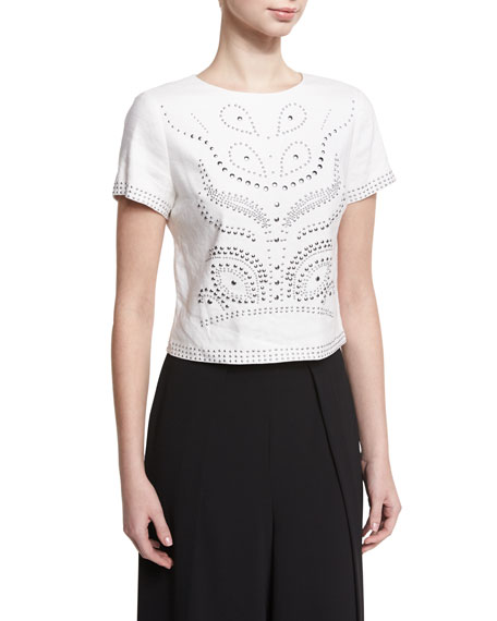 Alice And Olivia  SARINA STUDDED SHORT-SLEEVE CROP TOP, WHITE