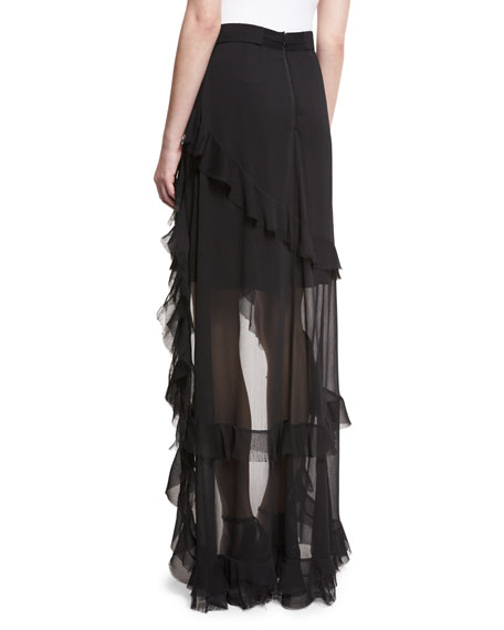 Lavera Layered Ruffle High-Low Maxi Skirt, Black