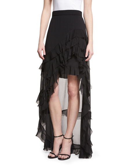 Lavera Layered Ruffle High-Low Maxi Skirt, Black