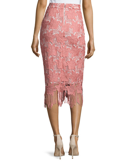 Floral Guipure Lace Pencil Skirt, Pink/White