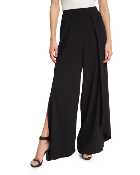 Larissa Pleated Wide-Leg Pants, Black