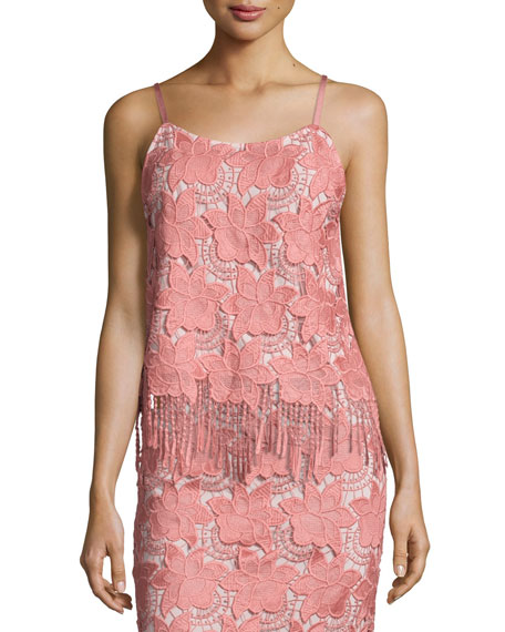 ALICE AND OLIVIA Floral Guipure Lace Pencil Skirt, Pink/White, Multi in Dusty Rose Sesame