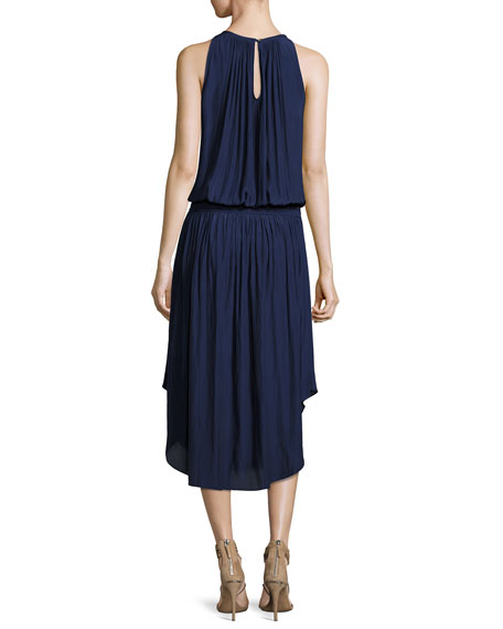 Audrey Sleeveless Blouson Midi Dress, Navy