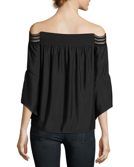 Priscilla Scalloped Lace Off-the-Shoulder Top, Black