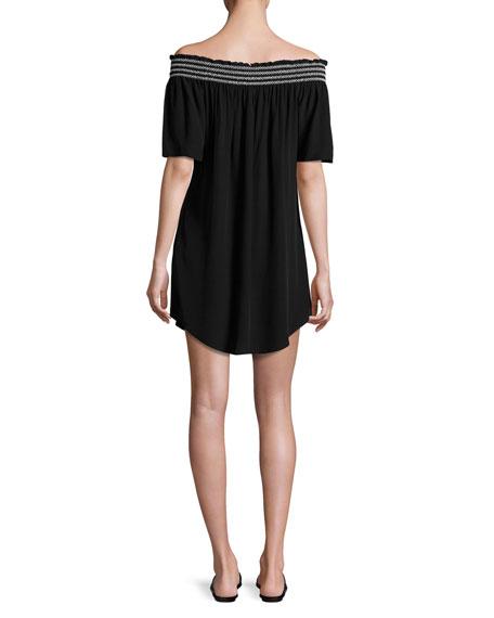 Smocked Off-the-Shoulder Coverup Dress, Black