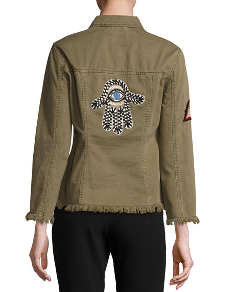 Cedar Denim Shirt Jacket with Logo Patches, Olive