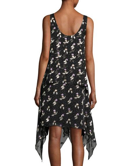 Gestures Floral Burnout Handkerchief Dress, Black