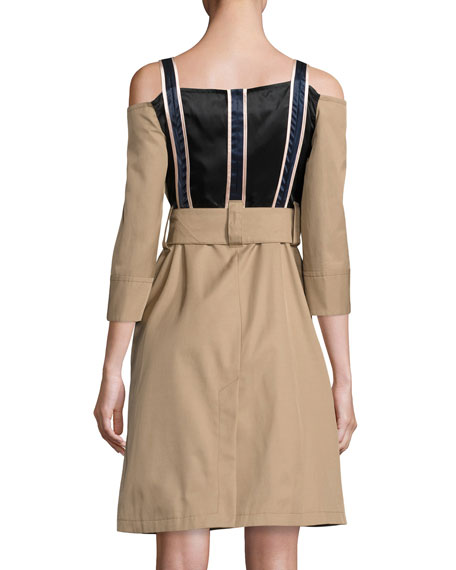 Twill Cold-Shoulder Trench Dress, Khaki