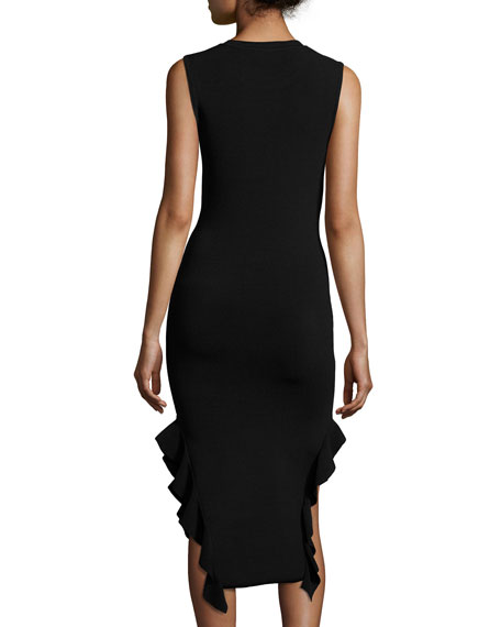 Sleeveless Stretch Crepe Ruffle-Trim Midi Dress, Black