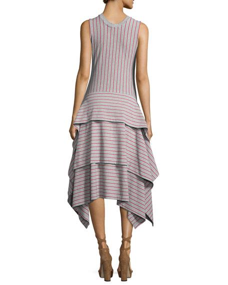 Sleeveless Tiered Striped Jersey Dress, Gray