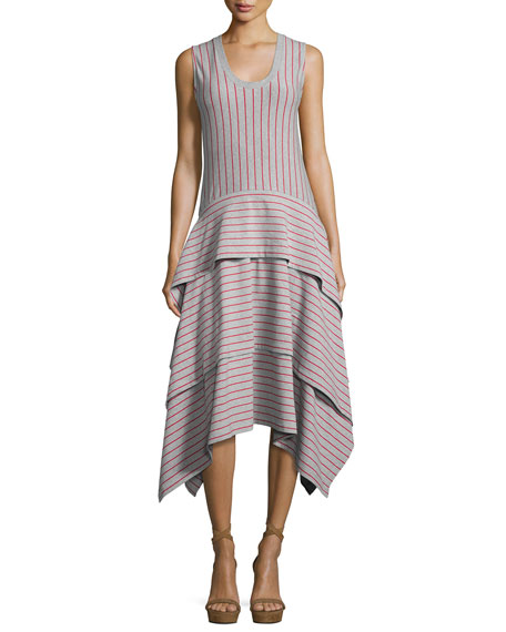 Sleeveless Tiered Striped Jersey Dress, Gray