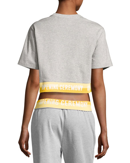 Heathered Jersey Elastic-Logo Tee, Gray