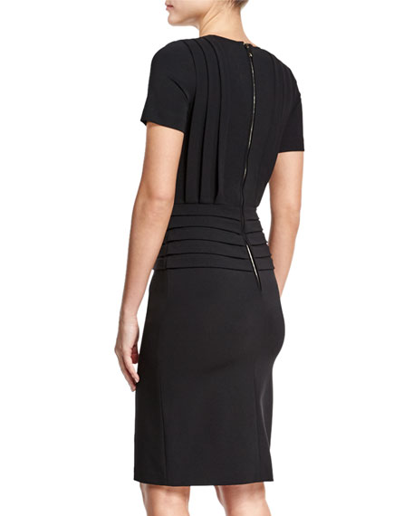 Short-Sleeve Pleated Sheath Dress, Black