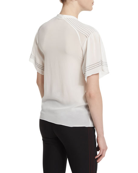 Short-Sleeve Pleated Silk Blouse, White