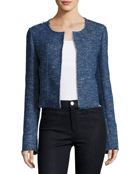 Ualana Raw-Edge Tweed Jacket, Blue