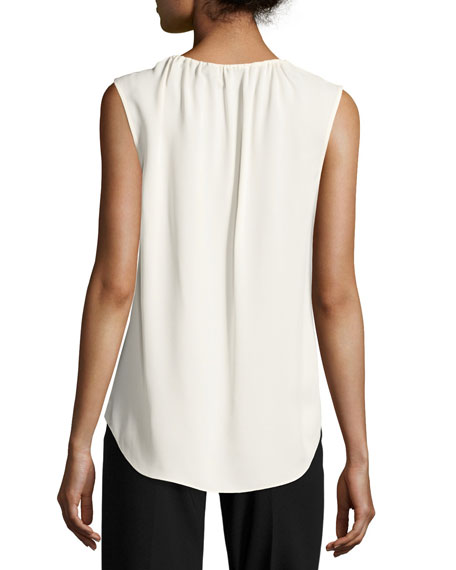 Alamay Classic Georgette Sleeveless Split-Neck Top, White