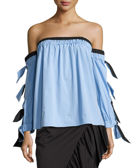 Blythe Off-the-Shoulder Stretch-Poplin Top, Multi Pattern
