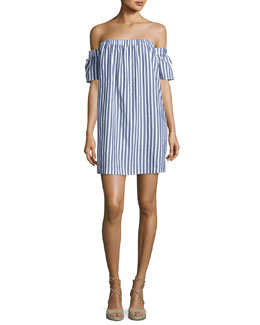 Off-the-Shoulder Striped Poplin Shirtdress, Multi