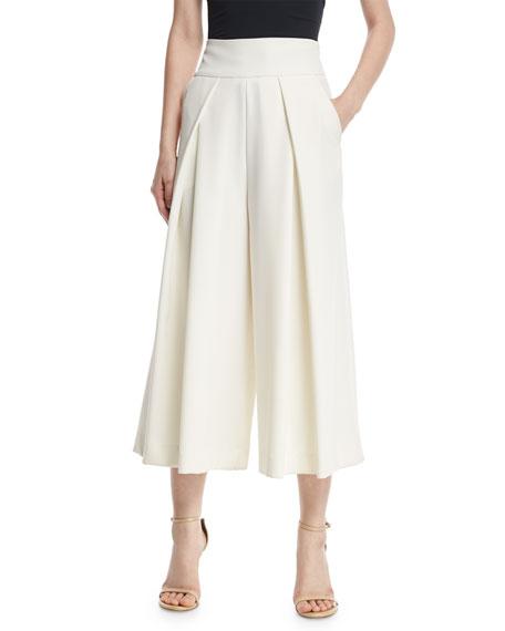 Italian Cady Pleated Wide-Leg Culottes, White