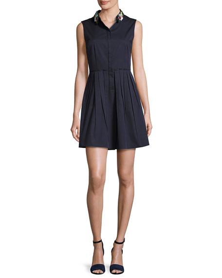 Elie Tahari Samiyah Sleeveless Pleated Dress w/ Embellished