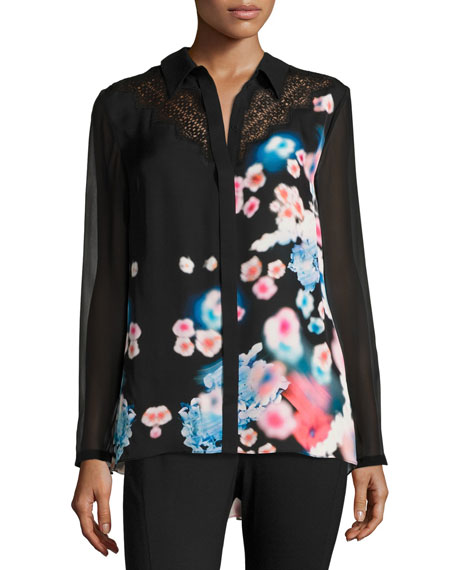 Mason Lace-Trim Button-Front Floral Silk Blouse, Multi