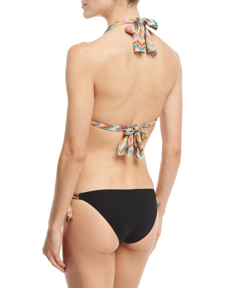 Two-Piece String Bikini with Zigzag Ties, Black/Multicolor