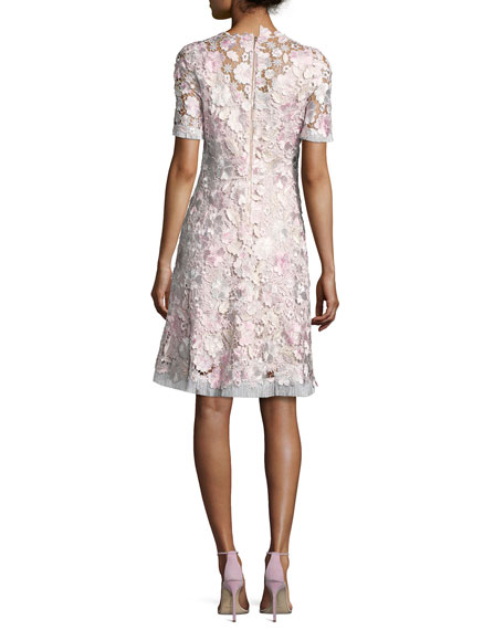 Laura Short Sleeve Lace Dress Pink Pattern