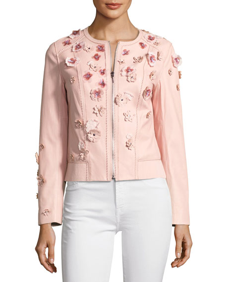 Elie Tahari Glenna Leather Moto Jacket w/ Floral