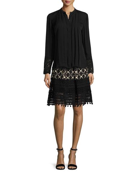 Simora Silk Lace A-Line Skirt, Black